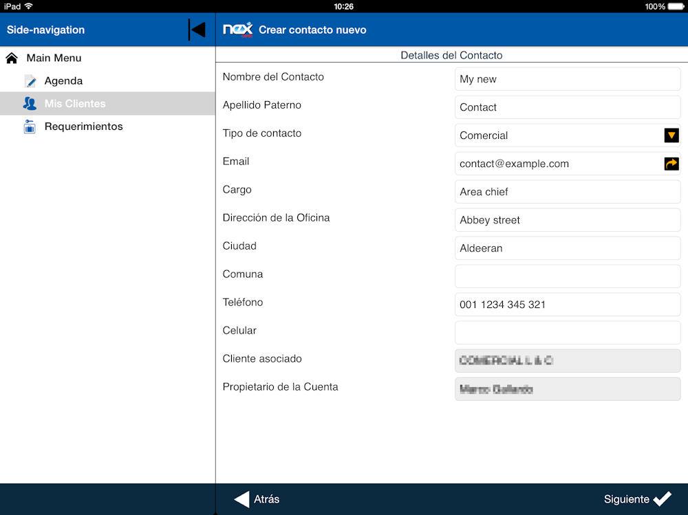 Movelet de App para Salesforce Crear nuevo cliente offline